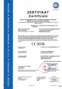 Zertifikat Modul A1 DB800_1000_F